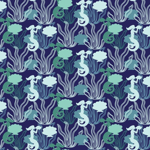 Mermaids and shells on Navy_Miss Chiff Designs
