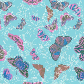 Butterflies and Flowers - Pinks and Blue and Green on white and aqua background
