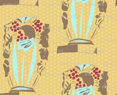 Taupe Vase on Mustard Polka Dot_Miss Chiff Designs