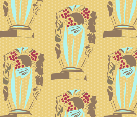 Taupe Vase on Mustard Polka Dot_Miss Chiff Designs fabric by misschiffdesigns on Spoonflower - custom fabric