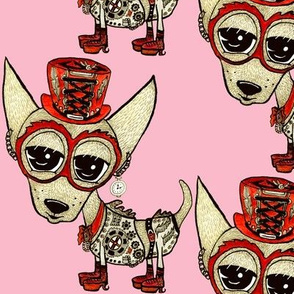 #SFDesignADay Steampunk Chihuahua pink red beige, large scale