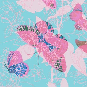 Butterflies and Roses - Pinky-Purples on Aqua