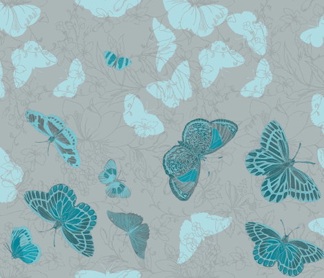 Butterflies and Flowers - Bluey-Green on Grey fabric by kura_carpenter on Spoonflower - custom fabric