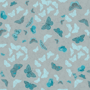 Butterflies and Flowers - Bluey-Green on Grey