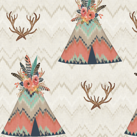 Teepees in Ikat Chevron fabric by willowlanetextiles on Spoonflower - custom fabric