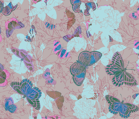 Butterflies and Roses - Pinks and Blues on Brown fabric by kura_carpenter on Spoonflower - custom fabric