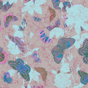 Butterflies and Roses - Pinks and Blues on Brown