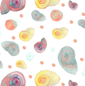 Watercolor Snails Mirrored