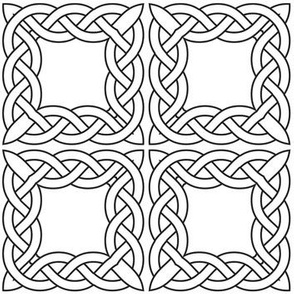 Celtic Squares Black and White Coloring In