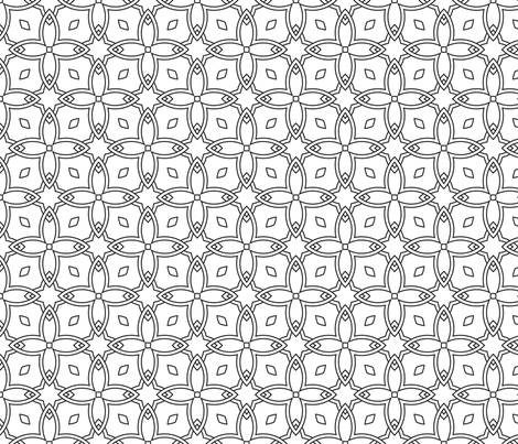 Stained Glass Window to Color Black and White Coloring In  fabric by hidesysfabric on Spoonflower - custom fabric