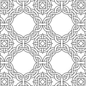 Celtic Stitch Black and White Coloring In Pattern