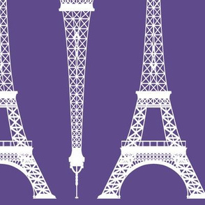 Twelve Inch White Eiffel Tower on Ultra Violet Purple
