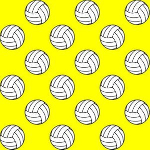 One Inch Black and White Volleyball Balls on Yellow