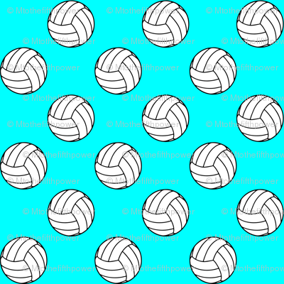 One Inch Black and White Volleyball Balls on Aqua Blue