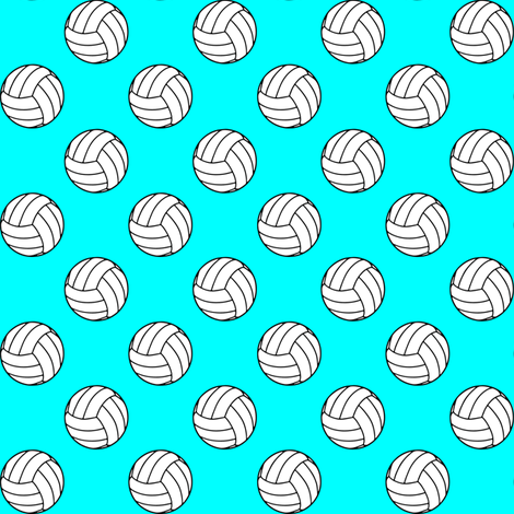 One Inch Black and White Volleyball Balls on Aqua Blue fabric by mtothefifthpower on Spoonflower - custom fabric