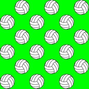 One Inch Black and White Volleyball Balls on Lime Green
