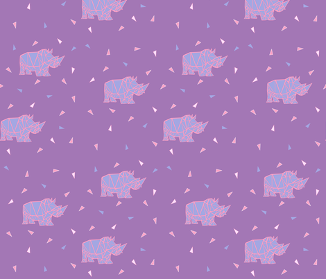 Geo Rhinos in purple fabric by thepoonapple on Spoonflower - custom fabric