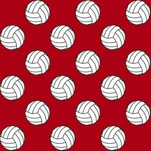 One Inch Black and White Volleyball Balls on Dark Red