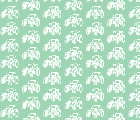 Tractors Sage/white fabric by babyitspersonal on Spoonflower - custom fabric