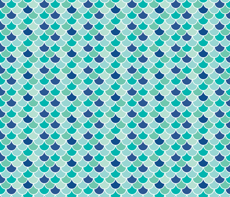Aqua Mermaid Scales fabric by katebillingsley on Spoonflower - custom fabric