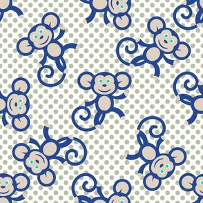 Blue Monkey on polka dot