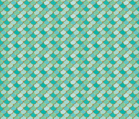 Sea Green Mermaid Tail fabric by katebillingsley on Spoonflower - custom fabric
