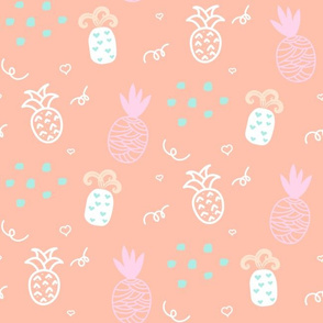 Funny white pineapple on pink.