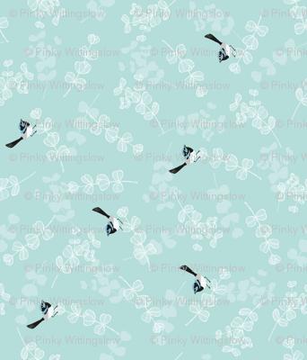 Blue Wrens on Duck Egg Blue