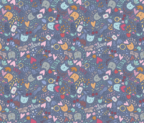 lovely cats fabric by kostolom3000 on Spoonflower - custom fabric