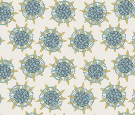 Sea flowers - cream fabric by rachelmacdonald on Spoonflower - custom fabric