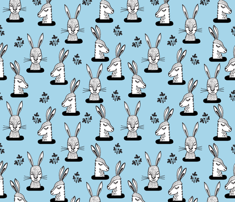 rabbit // bunny burrow sweet soft blue bunny rabbits larger scale  fabric by andrea_lauren on Spoonflower - custom fabric
