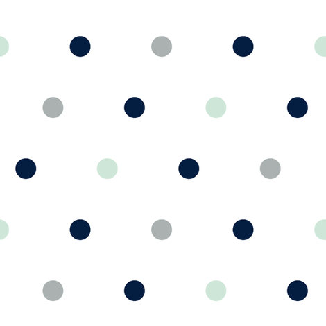 Large Polka Dots // Navy/Mint/Grey fabric by littlearrowdesign on Spoonflower - custom fabric
