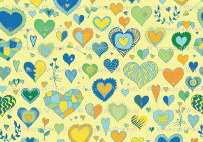 Hearts - lemon, green & blue
