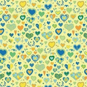 Hearts - lemon, green & blue