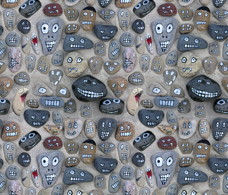 stone heads fabric by karismithdesigns on Spoonflower - custom fabric