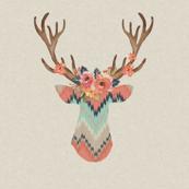 Fancy Deer in Ikat Chevron  // Baby Girl
