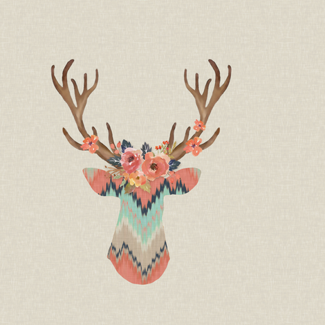 Fancy Deer in Ikat Chevron  // Baby Girl fabric by willowlanetextiles on Spoonflower - custom fabric