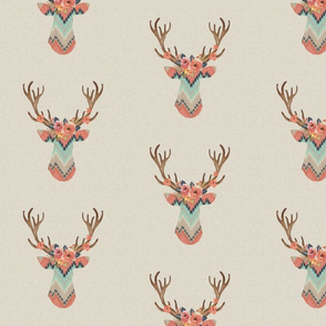 Fancy Deer in Ikat Chevron  // Baby Girl