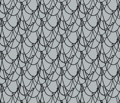Strung beads in modern design black and gray fabric by jenlats on Spoonflower - custom fabric