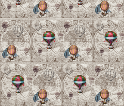 Steampunk Map fabric by aftermyart on Spoonflower - custom fabric