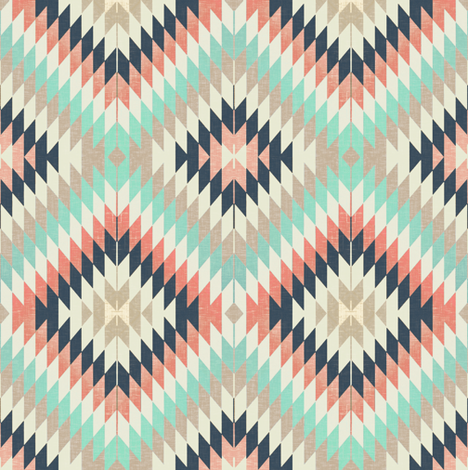 Kilim / Coral, Aqua and Navy fabric by willowlanetextiles on Spoonflower - custom fabric