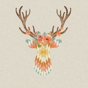Floral Kilim Deer in Starburst