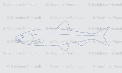 Fish shoals grey fine line