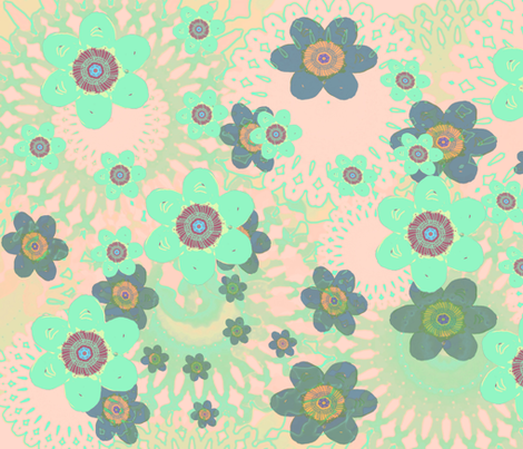 Turquoise flowers  fabric by sparrow_design on Spoonflower - custom fabric