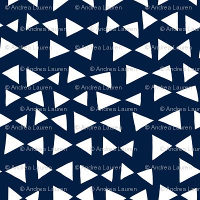 bow tri // navy triangles bow tie triangles small mini print