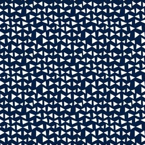 bow tri // navy triangles bow tie triangles small mini print