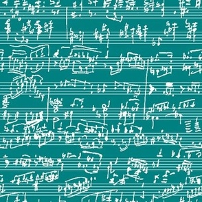 Hand Written Sheet Music on Teal // Small