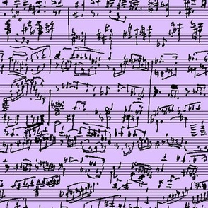 Hand Written Sheet Music on Lavender // Small