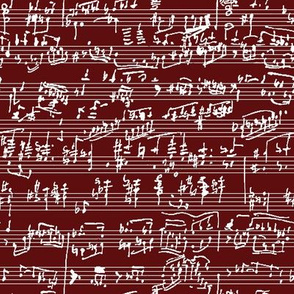Hand Written Sheet Music on Burgundy // Small