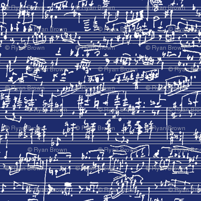 Hand Written Sheet Music on Dark Blue // Small